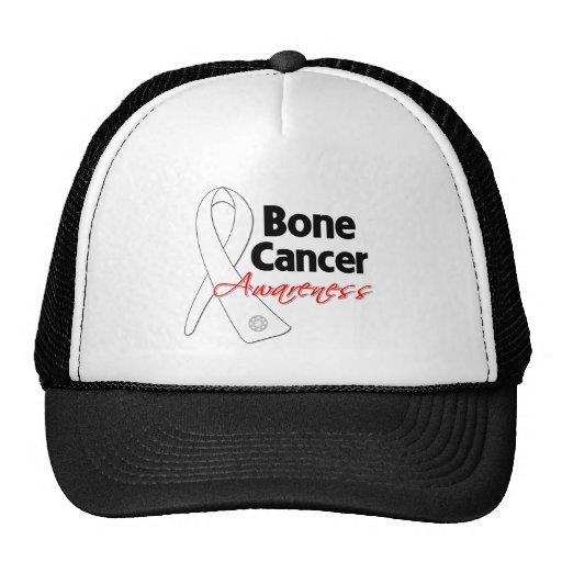 Cinta de la conciencia del cáncer de hueso gorro de camionero