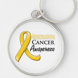 Cinta de la conciencia del cáncer de Neuroblastoma Llavero Redondo Plateado