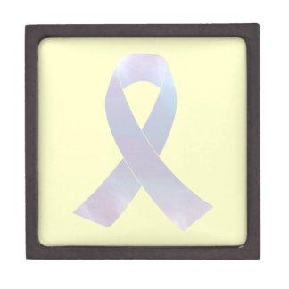 Cinta de la conciencia del cáncer de pulmón caja de regalo de calidad