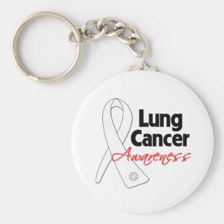Cinta de la conciencia del cáncer de pulmón llavero redondo tipo pin