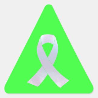 Cinta de la conciencia del cáncer de pulmón pegatina triangular