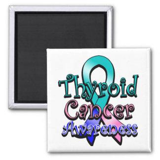 Cinta de la conciencia del cáncer de tiroides imán cuadrado