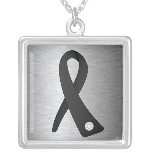 Cinta de la conciencia del cáncer del melanoma colgante cuadrado
