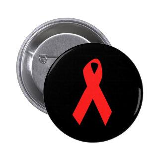 CINTA DE LA CONCIENCIA/DEL SIDA DEL VIH PIN REDONDO DE 2 PULGADAS
