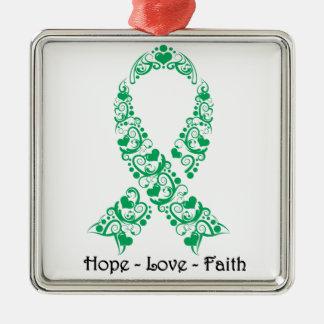 Cinta de la conciencia del verde esmeralda de la adorno navideño cuadrado de metal