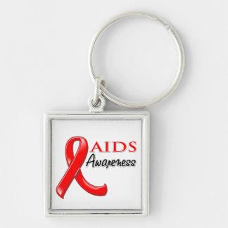 Cinta de la conciencia del VIH del SIDA Llavero Cuadrado Plateado