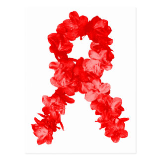 Cinta de la conciencia en flores rojas tarjeta postal