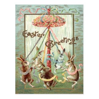Cinta de la danza del Maypole del conejito de pasc Postales
