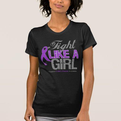 Cinta de la enfermedad de Crohns - lucha como un T-shirts
