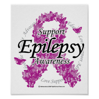 Cinta de la epilepsia de mariposas póster