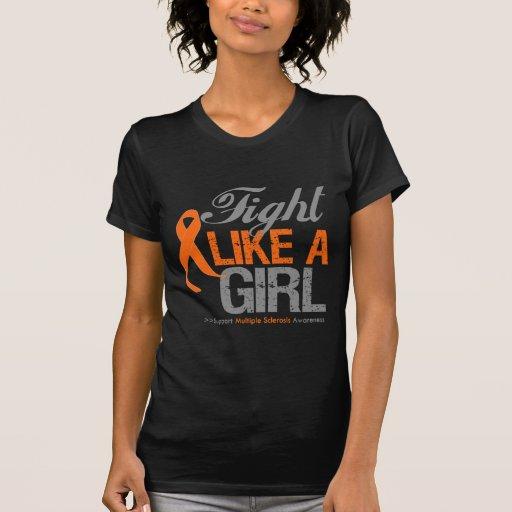 Cinta de la esclerosis múltiple - lucha como un ch camisetas