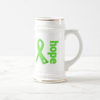 Cinta de la esperanza de la enfermedad de Lyme Jarra De Cerveza