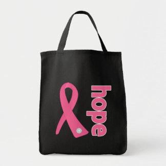 Cinta de la esperanza del cáncer de pecho bolsa tela para la compra