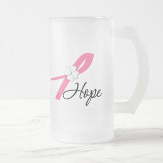 Cinta de la esperanza del cáncer de pecho taza de cristal