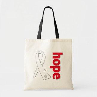 Cinta de la esperanza del cáncer de pulmón bolsa lienzo