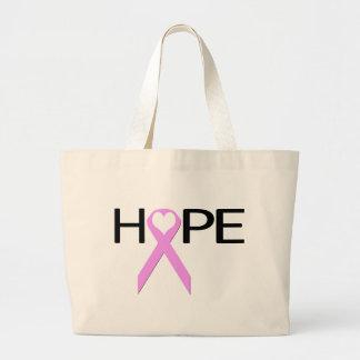 Cinta de la esperanza del corazón del cáncer de pe bolsas lienzo