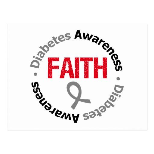 Cinta de la fe de la conciencia de la diabetes tarjeta postal