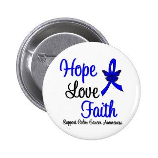 Cinta de la fe del amor de la esperanza del cáncer pin redondo de 2 pulgadas