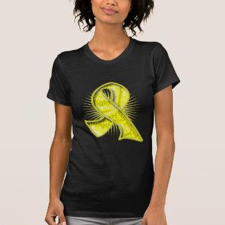 Cinta de la filigrana del lema del cáncer de camisetas