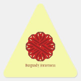 Cinta de la flor de Borgoña Pegatina Triangular
