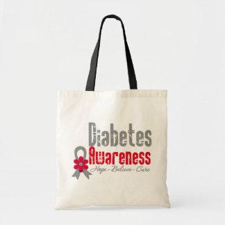 Cinta de la flor de la conciencia de la diabetes bolsas de mano