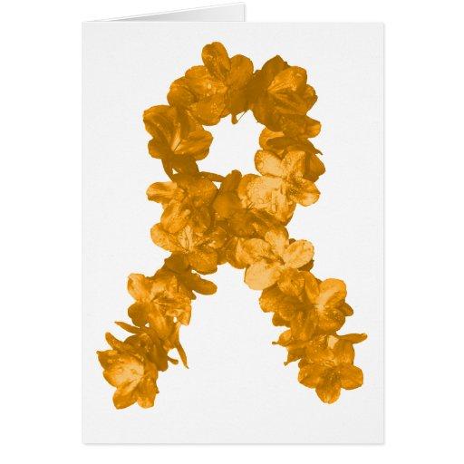 Cinta de la flor de la conciencia de la leucemia tarjeta de felicitación
