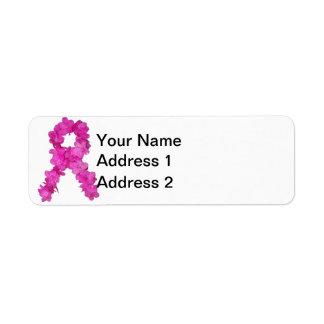Cinta de la flor de la conciencia del cáncer de pe etiqueta de remitente