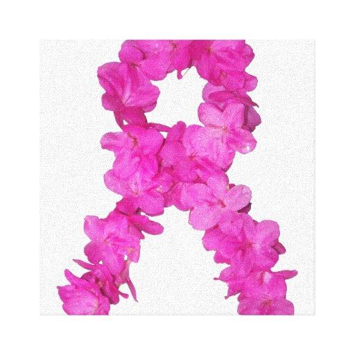 Cinta de la flor de la conciencia del cáncer de pe impresión en lona estirada