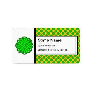 Cinta de la flor de la verde lima etiquetas de dirección