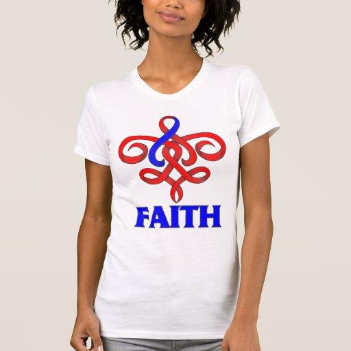 Cinta de la flor de lis de la fe de la fibrosis pu t-shirts