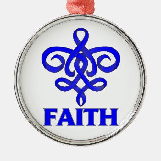 Cinta de la flor de lis de la fe de la parálisis adorno redondo plateado