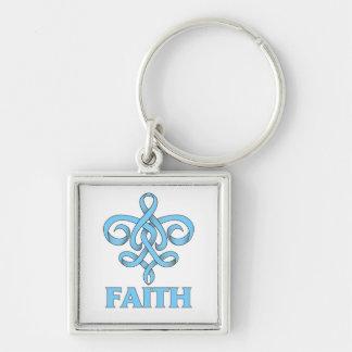 Cinta de la flor de lis de la fe de Lymphedema Llaveros Personalizados