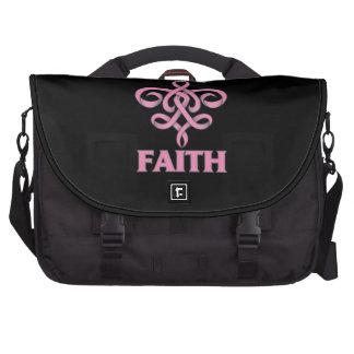 Cinta de la flor de lis de la fe del cáncer de pec bolsas para portatil