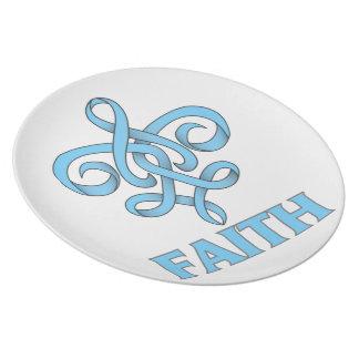 Cinta de la flor de lis de la fe del cáncer de pró platos