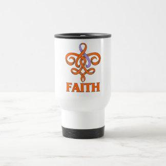 Cinta de la flor de lis de la fe del eczema y del  taza de café