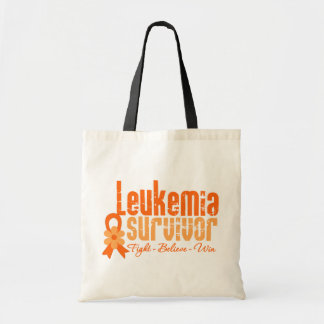 Cinta de la flor del superviviente de la leucemia bolsas lienzo