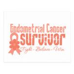 Cinta de la flor del superviviente del cáncer endo tarjetas postales