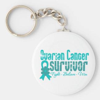 Cinta de la flor del superviviente del cáncer ovár llaveros personalizados