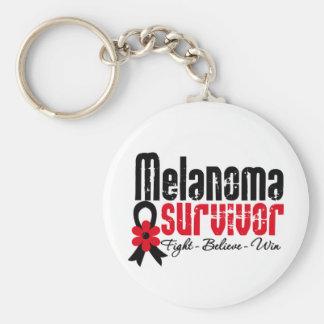 Cinta de la flor del superviviente del melanoma llavero personalizado