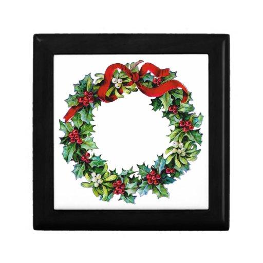Cinta de la guirnalda w/red del navidad del acebo  caja de recuerdo