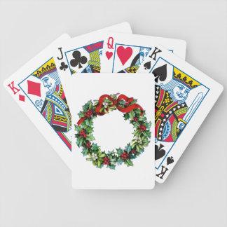 Cinta de la guirnalda w/red del navidad del acebo  cartas de juego