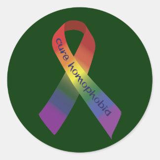 Cinta de la homofobia de la curación pegatina redonda