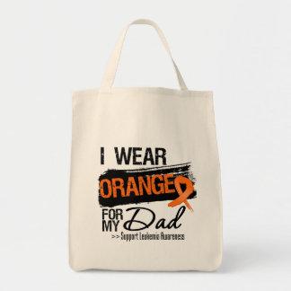 Cinta de la leucemia para mi papá bolsa tela para la compra