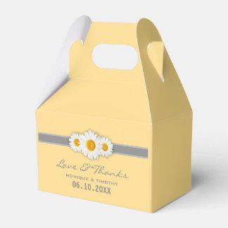 Cinta de la margarita - grises amarillos y el cajas para regalos de boda