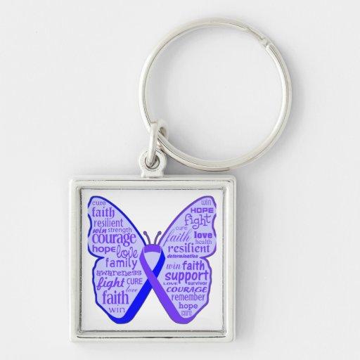 Cinta de la mariposa de la artritis reumatoide llaveros personalizados