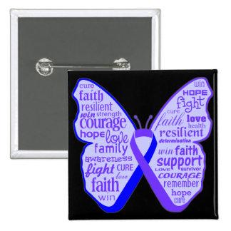Cinta de la mariposa de la artritis reumatoide pin cuadrado