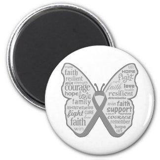 Cinta de la mariposa de la conciencia de la diabet imanes de nevera