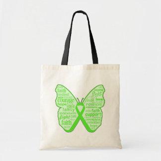 Cinta de la mariposa de la conciencia de la enferm bolsa tela barata