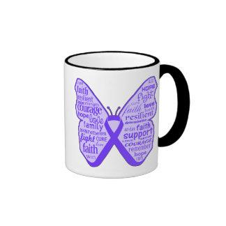 Cinta de la mariposa de la conciencia de la fibros taza de café