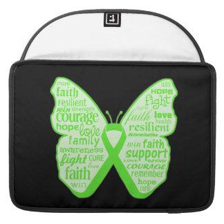 Cinta de la mariposa de la conciencia de la salud  funda para macbooks